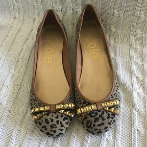 Nicole Leather Leopard Flats With Bow Size 8M New